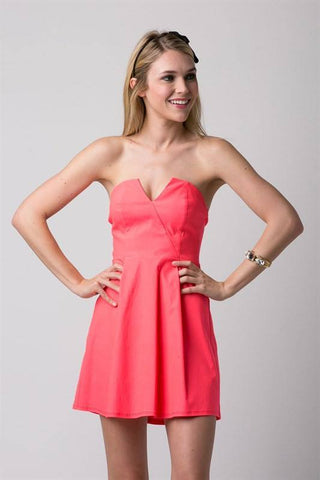 Neon Coral Strapless Dress Trunk Up