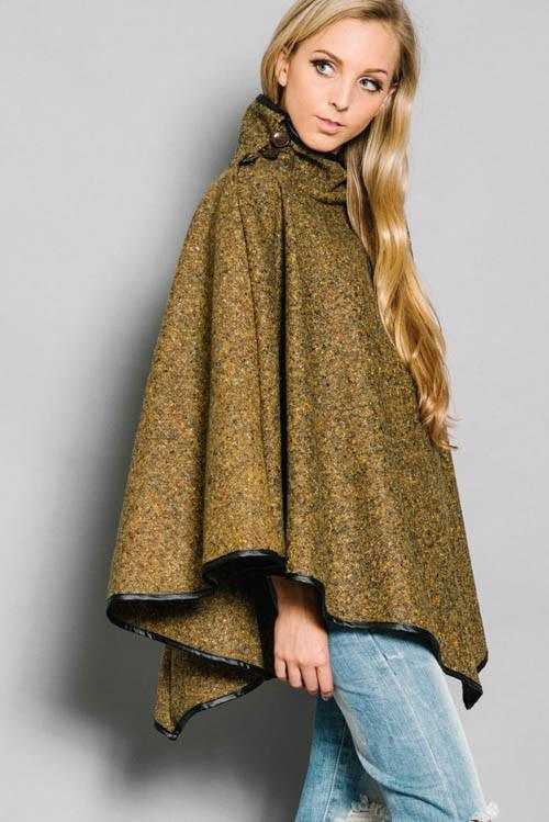 Olive Turtleneck Cape - Trunk Up - 1