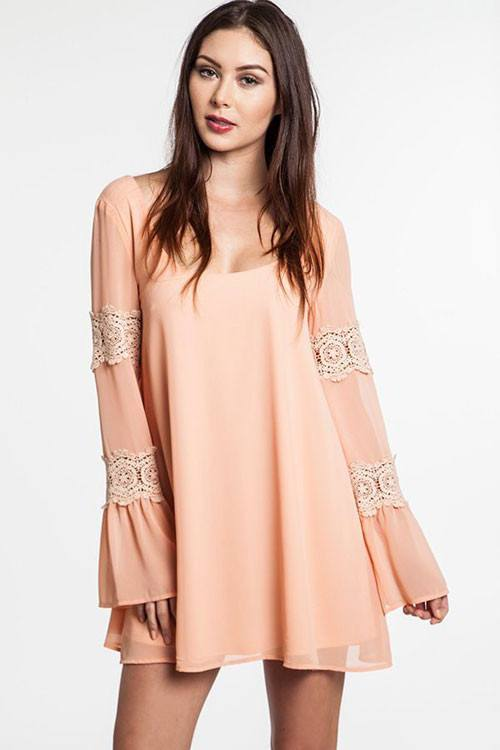 Peach Crochet Shift Dress Trunk Up