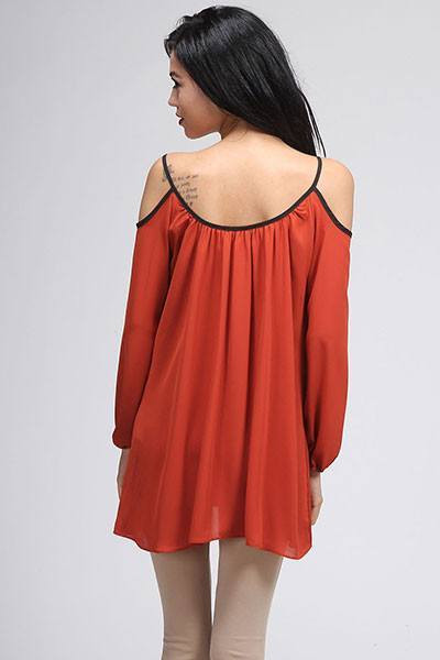 Rust Open Shoulder Tunic - Trunk Up