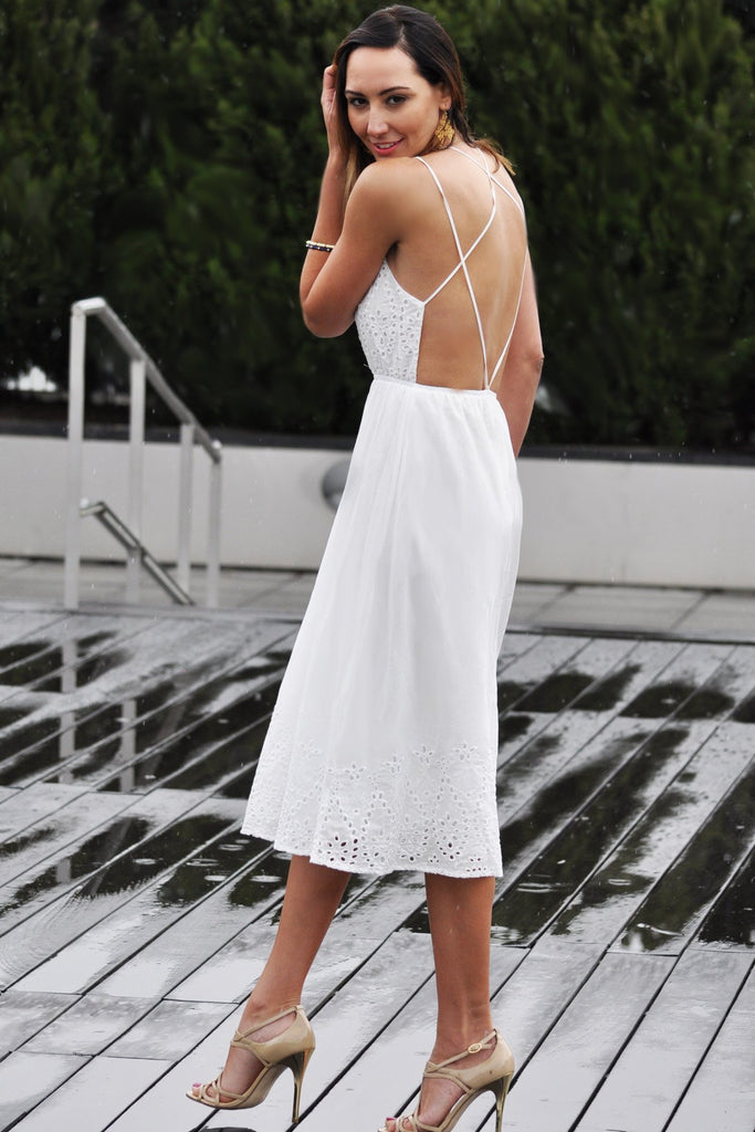 White Open Back Midi Dress - Trunk Up