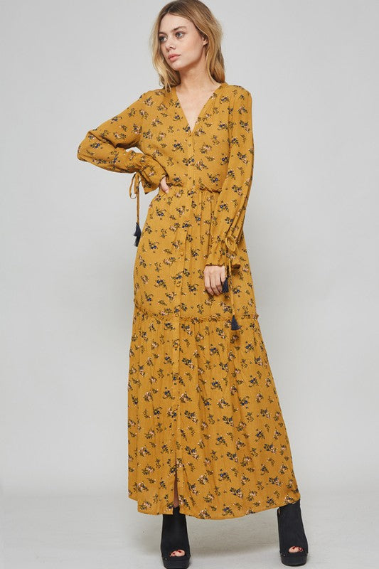 Floral Maxi Dress and Long Cardigan - Trunk Up