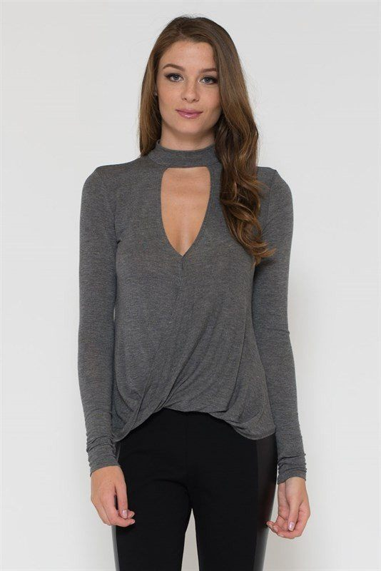 Gray Long Sleeve Peep-Hole Top - Trunk Up