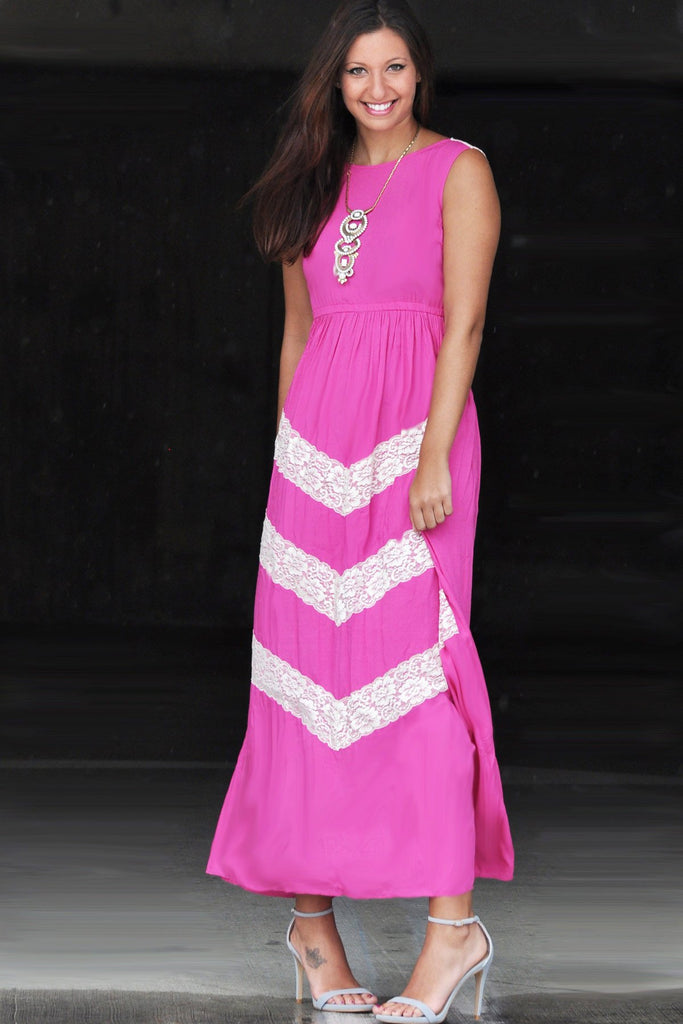 Pink and Lace Maxi Dress - Trunk Up