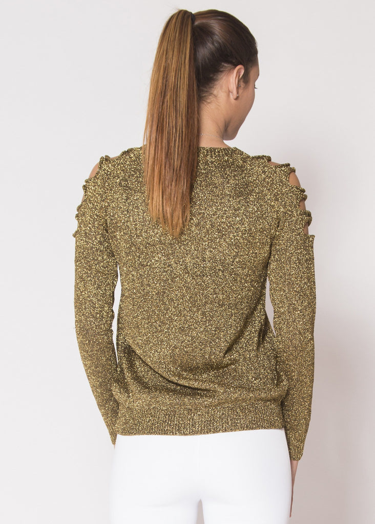Shoulder-Cut Metallic Top - Trunk Up