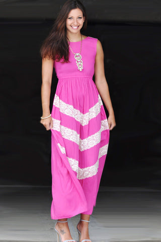 Pink and Lace Maxi Dress Trunk Up