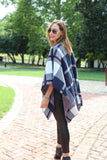 Navy Plaid Poncho - Trunk Up - 4