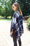 Navy Plaid Poncho - Trunk Up - 5