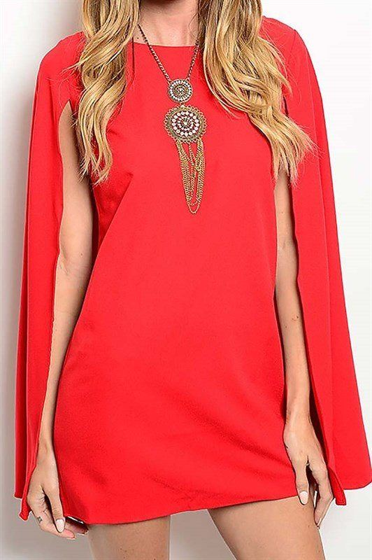 Red Cape Dress (Petite) - Trunk Up - 1