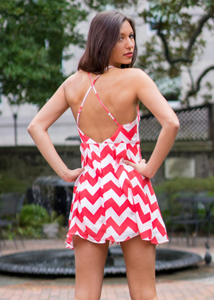 Red Chevron Dress - Trunk Up