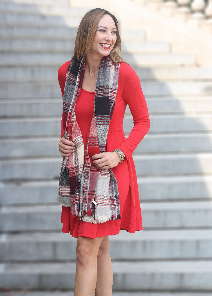 Red Plaid Scarf - Trunk Up