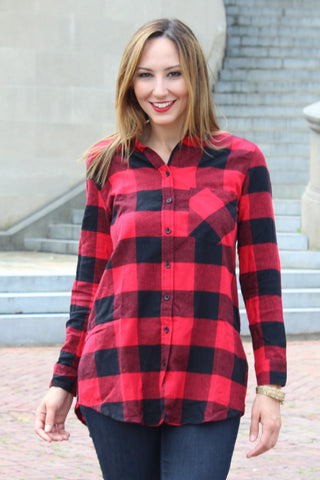 Plaid Flannel Top Trunk Up