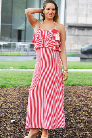 Ruffle Top Maxi Dress Trunk Up