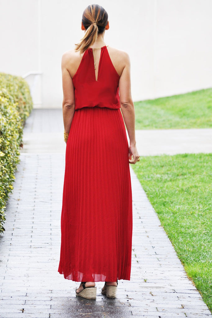 Pleated Red Maxi Dress - Trunk Up