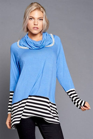 Striped Slate Turtleneck Trunk Up
