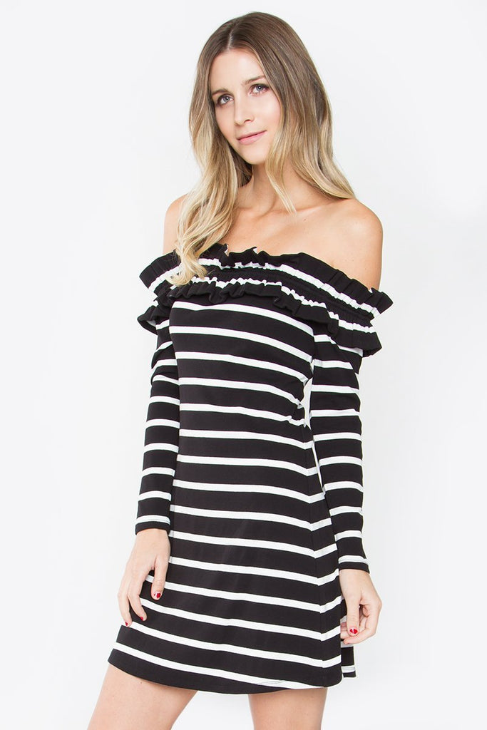 B&W Ruffle Dress - Trunk Up
