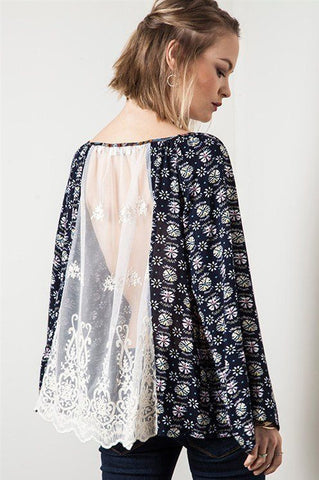 Lace Back Peasant Top Trunk Up