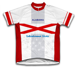 Alabama Flag Short Sleeve Cycling Jersey for Men and Women
