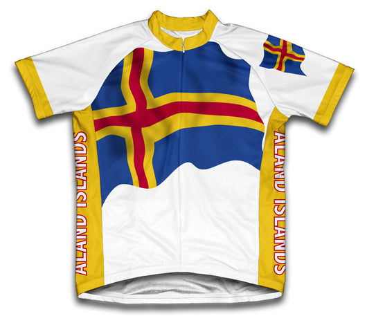Aland Islands Flag Cycling Jersey for Men and Women