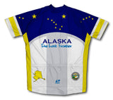 Alaska Flag Short Sleeve Cycling Jersey for Men and Women