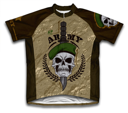 Army Skull Short Sleeve Cycling Jersey for Men and Women