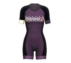 Arrows Purple Scudopro Cycling Skin Suit Short Sleeve for WomanArrows Purple Scudopro Cycling Skin Suit Short Sleeve for Woman