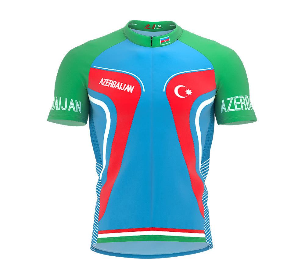 Azerbaijan  Full Zipper Bike Short Sleeve Cycling Jersey