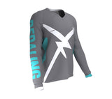Bear Pedaling Power Gray Scudopro Cycling MTB BMX Jersey Long Sleeve for Men and Woman