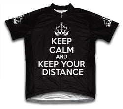 Keep Calm and Keep Your Distance Black Cycling Jersey