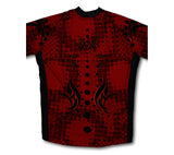 Black & Red Tribal Short Sleeve Cycling Jersey for Men and Women