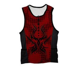 Black and Red Tribal Triathlon Top