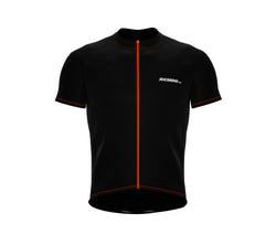 Chroma Contrast |  Short Sleeve Cycling Jersey Black - Orange zip/seam | Men and Women