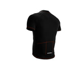 Chroma Contrast |  Short Sleeve Cycling Jersey Black - Black zip - Orange seam | Men and Women