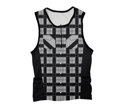 Black Plaid Shirt Triathlon Top
