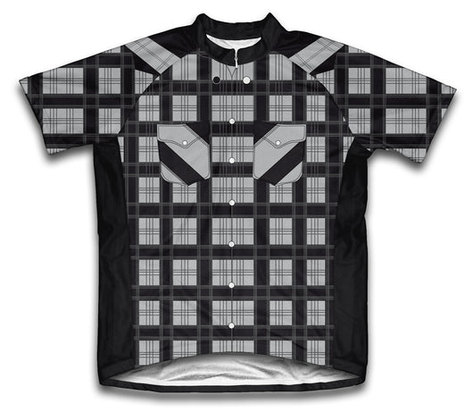 Black Plaid Shirt Short Sleeve Cycling Jersey for Men and Women