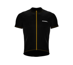 Chroma Contrast |  Short Sleeve Cycling Jersey Black - Yellow zip/seam | Men and Women
