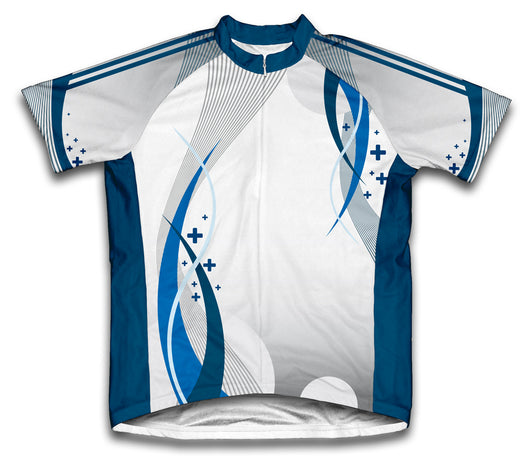 Blue Curve Short Sleeve Cycling Jersey for Men and Women