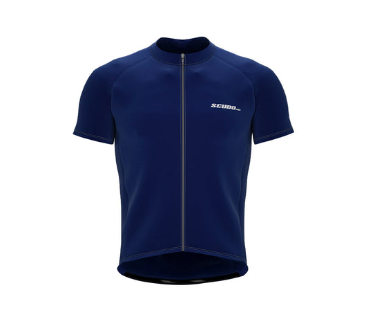 Chroma Contrast |  Short Sleeve Cycling Jersey Blue - Grey zip/seam | Men and Women