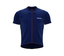 Chroma Contrast |  Short Sleeve Cycling Jersey Blue - Black zip - Orange seam | Men and Women