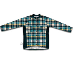 Blue Plaid Shirt Winter Thermal Cycling Jersey