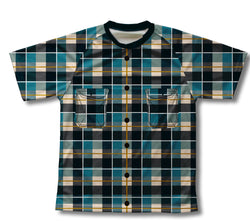 Blue Plaid Shirt Technical T-Shirt for Men and Women