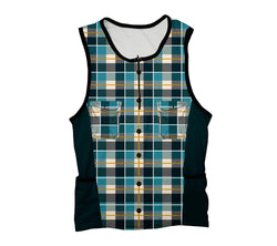 Blue Plaid Shirt Triathlon Top