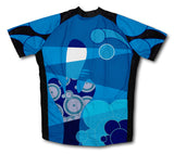Blue Swirl Musician Short Sleeve Cycling Jersey for Men and Women