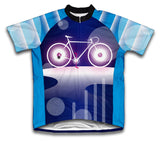 Blue Wheels Short Sleeve Cycling Jersey for Men and Women