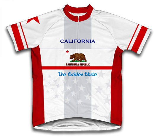 California Flag Short Sleeve Cycling Jersey for Men and Women
