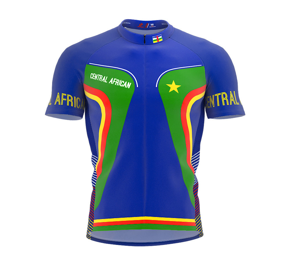 Central African Republic  Full Zipper Bike Short Sleeve Cycling Jersey