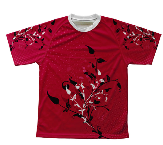 Cherry Red Blossom Technical T-Shirt for Men and Women