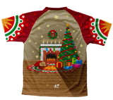 Christmas Fireplace Technical T-Shirt for Men and Women