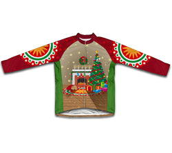 Christmas Fireplace Winter Thermal Cycling Jersey