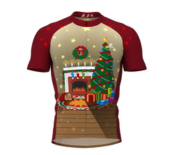 Christmas Fireplace Short Sleeve Cycling Jersey for Men and Women